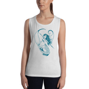 Permission Apparel - Deep Sea Huntress Muscle Tanktop - Drk Teal on White